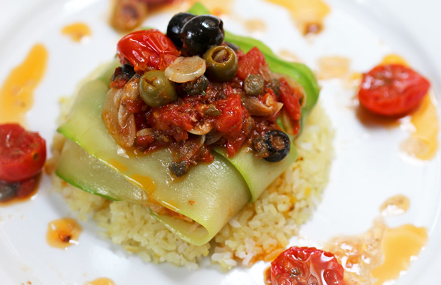 Zucchini-Wrapped Fish with Puttanesca Sauce