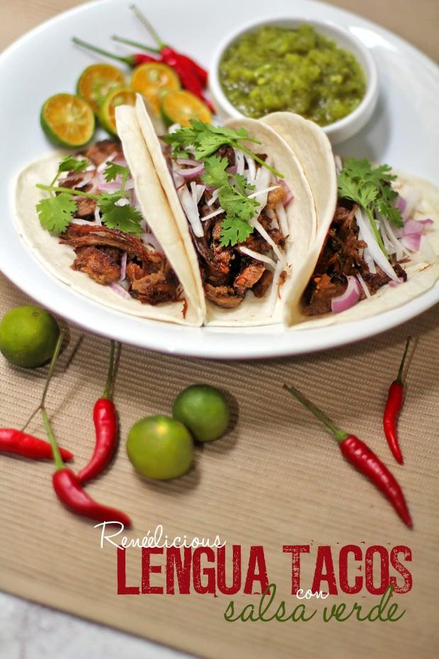 Lengua (Beef Tongue) Tacos con Salsa Verde