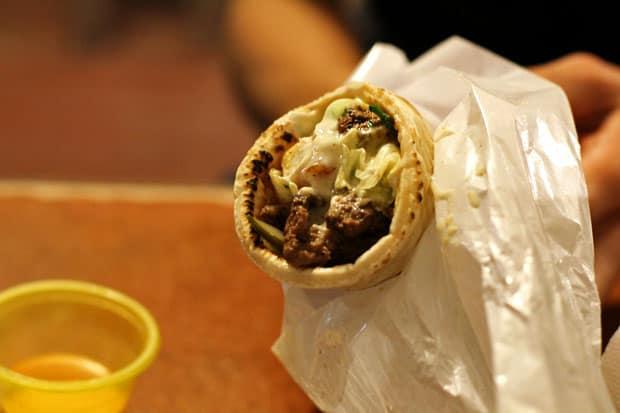 Beef Shawarma:  Meshwe's Beef Shawarma Sandwich