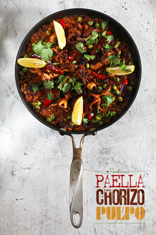 Paella con Chorizo y Pulpo