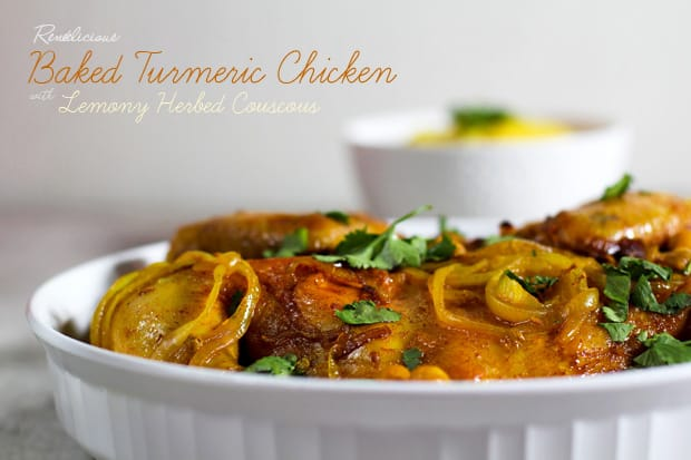 Baked Turmeric Chicken with Lemony Herbed Couscous