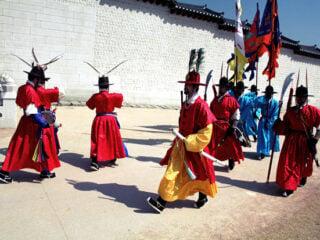 Changing of the guard at Gyeongbokgung, Seoul, South Korea