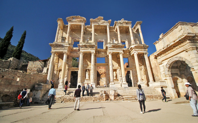 Tourists by the Boatful at Ephesus, an Ancient City in Selçuk, Turkey