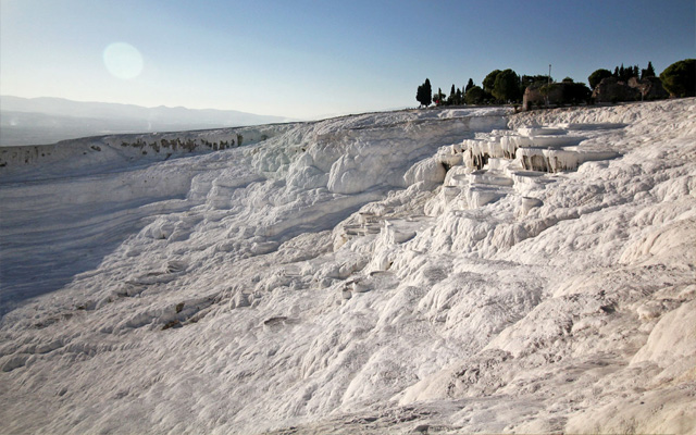 Hierapolis, Cleopatra's Pool, and the Calcium Travertines of Pamukkale, Turkey