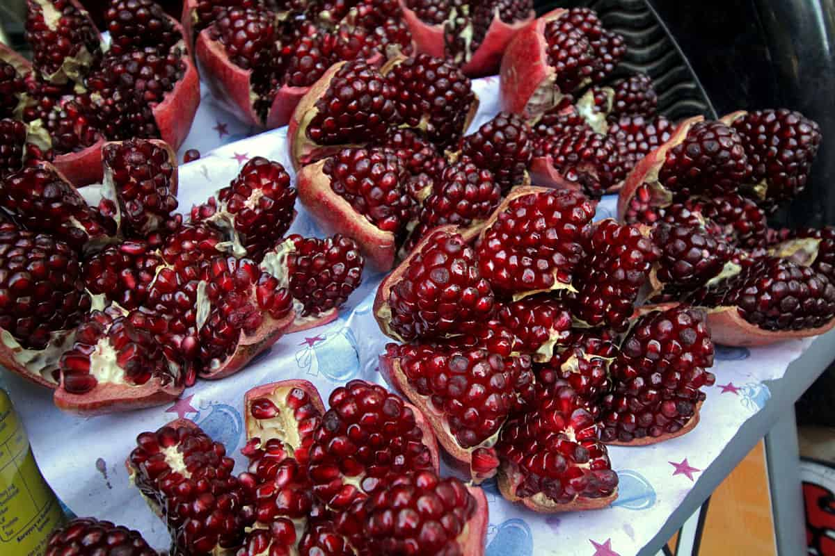 Peeled pomegranates