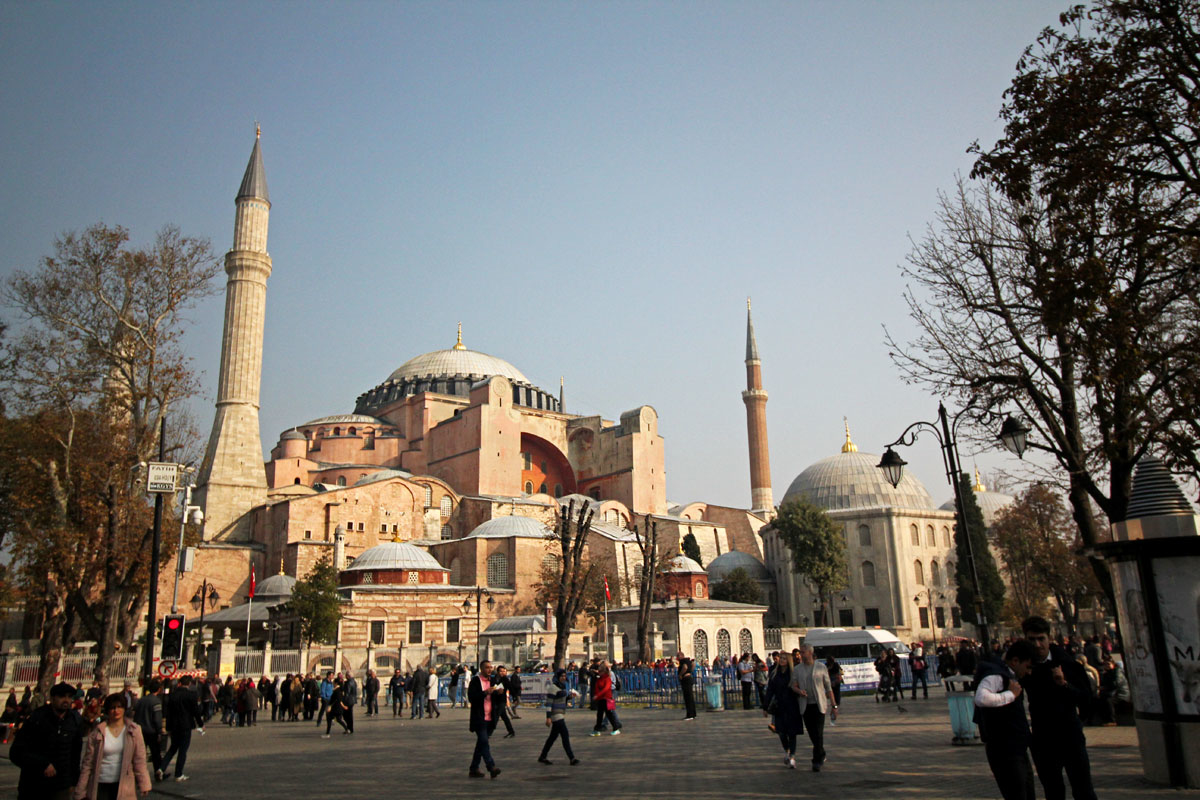 A Mosque, a Museum, and a Cistern in Sultanahmet Square in Istanbul, Turkey