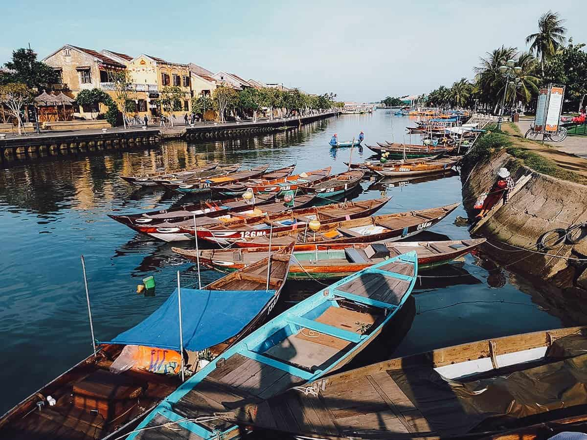 Wooden canoes on the Thu Bon River in Hoi An, Vietnam