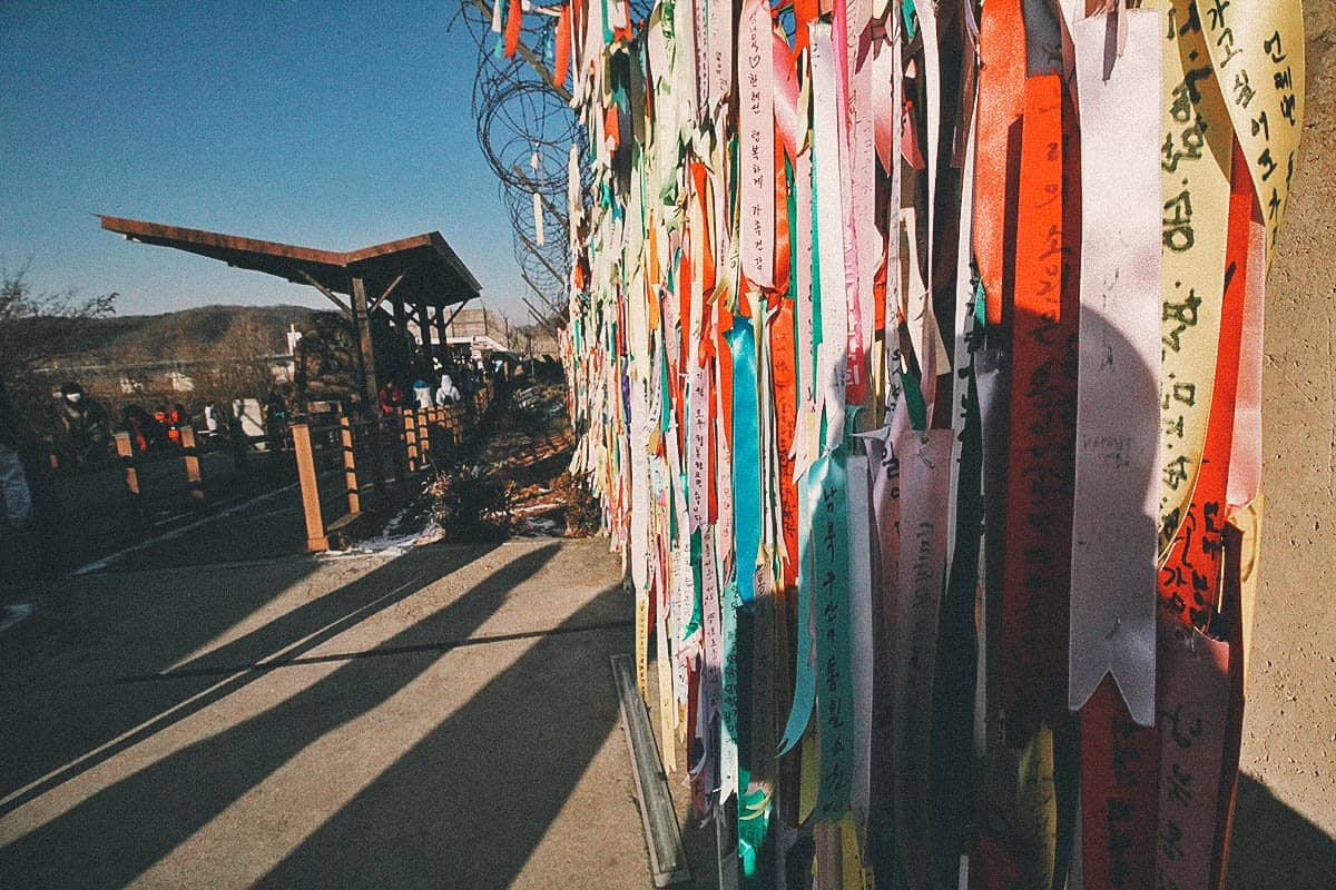 Hanging ribbons at the DMZ