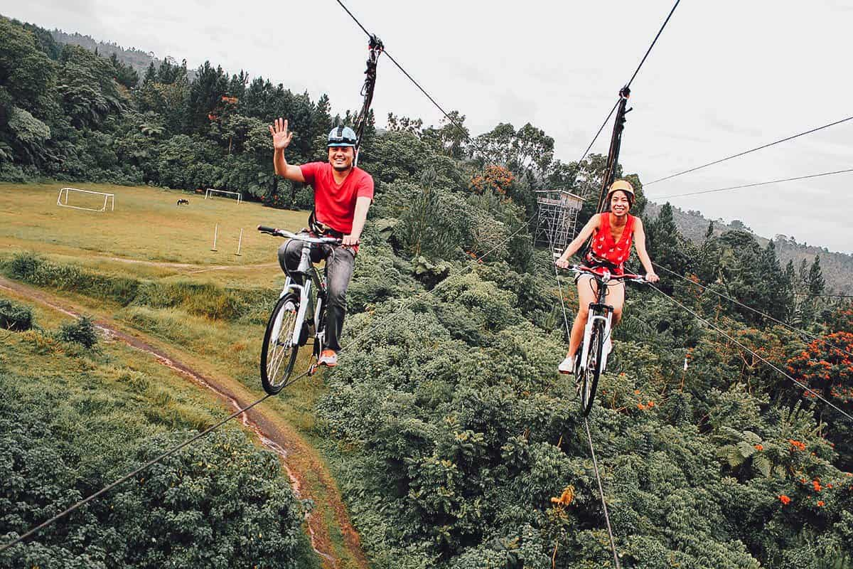 Bike on a Zipline at Chocolate Hills Adventure Park, Bohol, Philippines