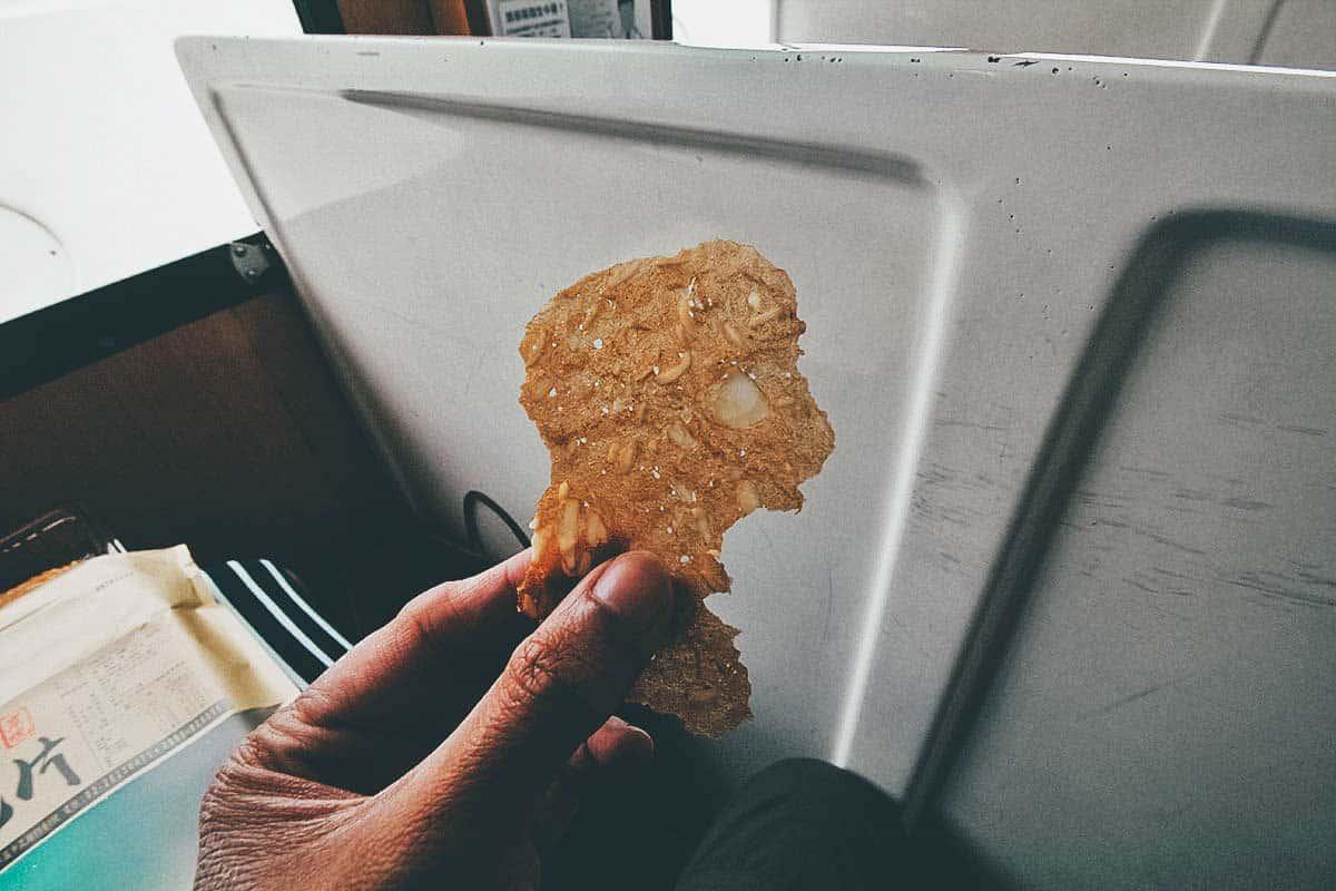 Crispy almond pork paper
