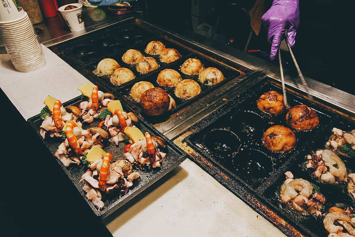 Giant takoyaki balls at Ruifeng Night Market in Kaohsiung, Taiwan