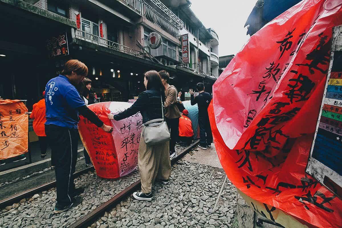 Sky Lantern Release, Shifen, Taiwan