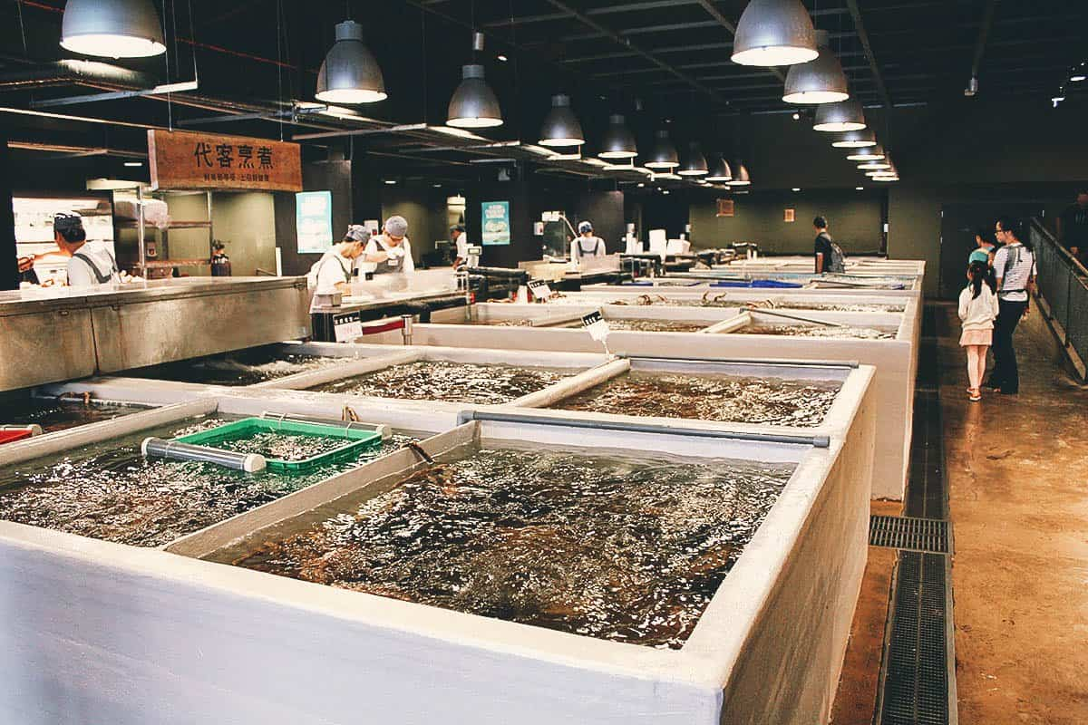 Live seafood tanks at Addiction Aquatic Development in Taipei, Taiwan