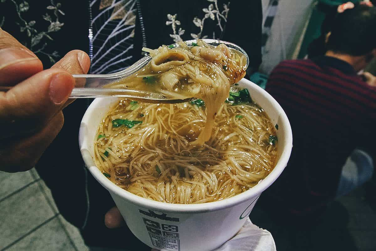 Bowl of mee sua at Ay-Chung Flour Rice Noodles in Taipei, Taiwan