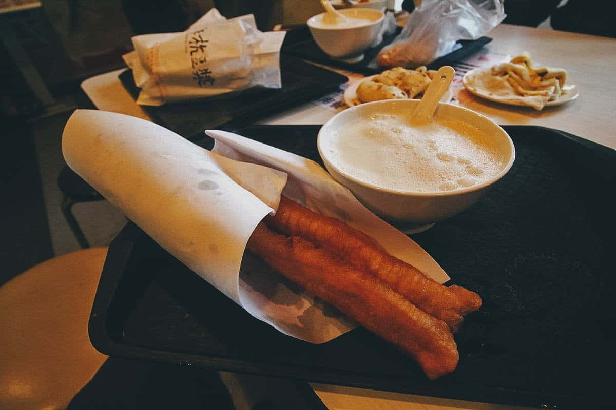 Warm soy milk with youtiao at Fuhang Soy Milk in Taipei, Taiwan