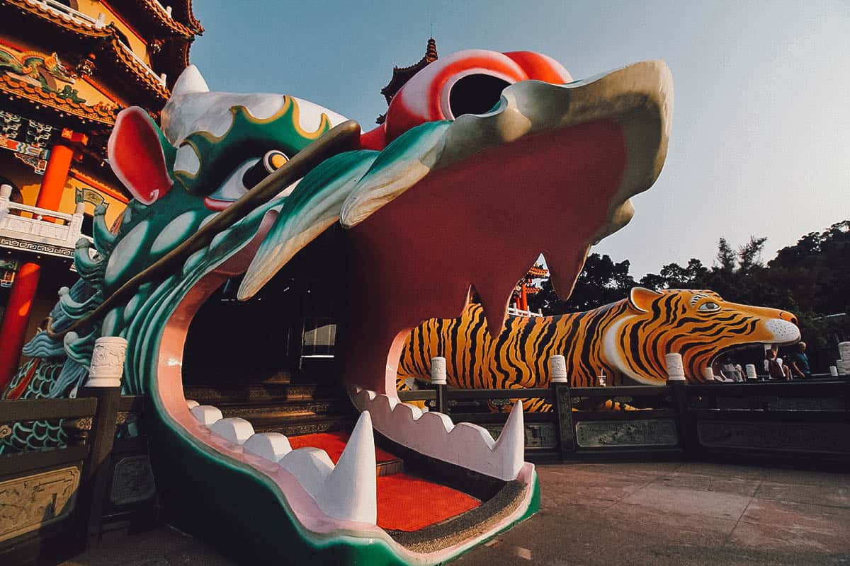 Close-up of the dragon pagoda