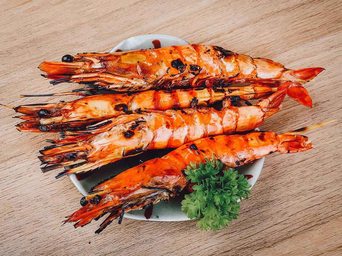 Grilled king prawns in Krabi