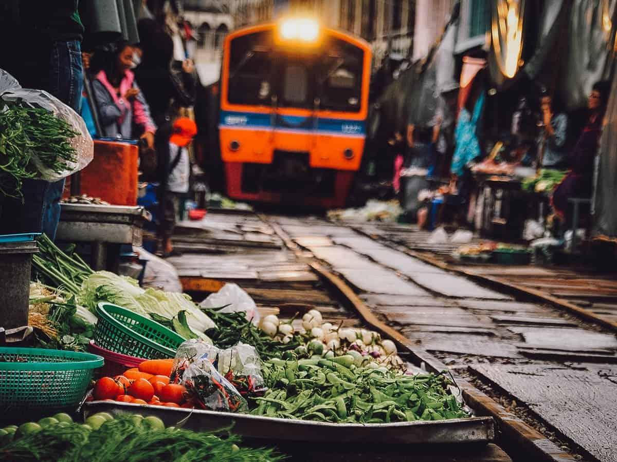 Maeklong Railway Market in Bangkok, Thailand
