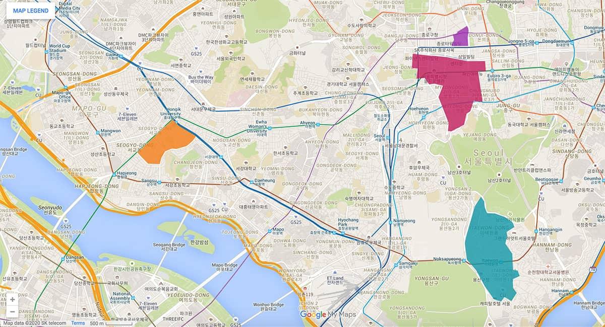 Seoul area map