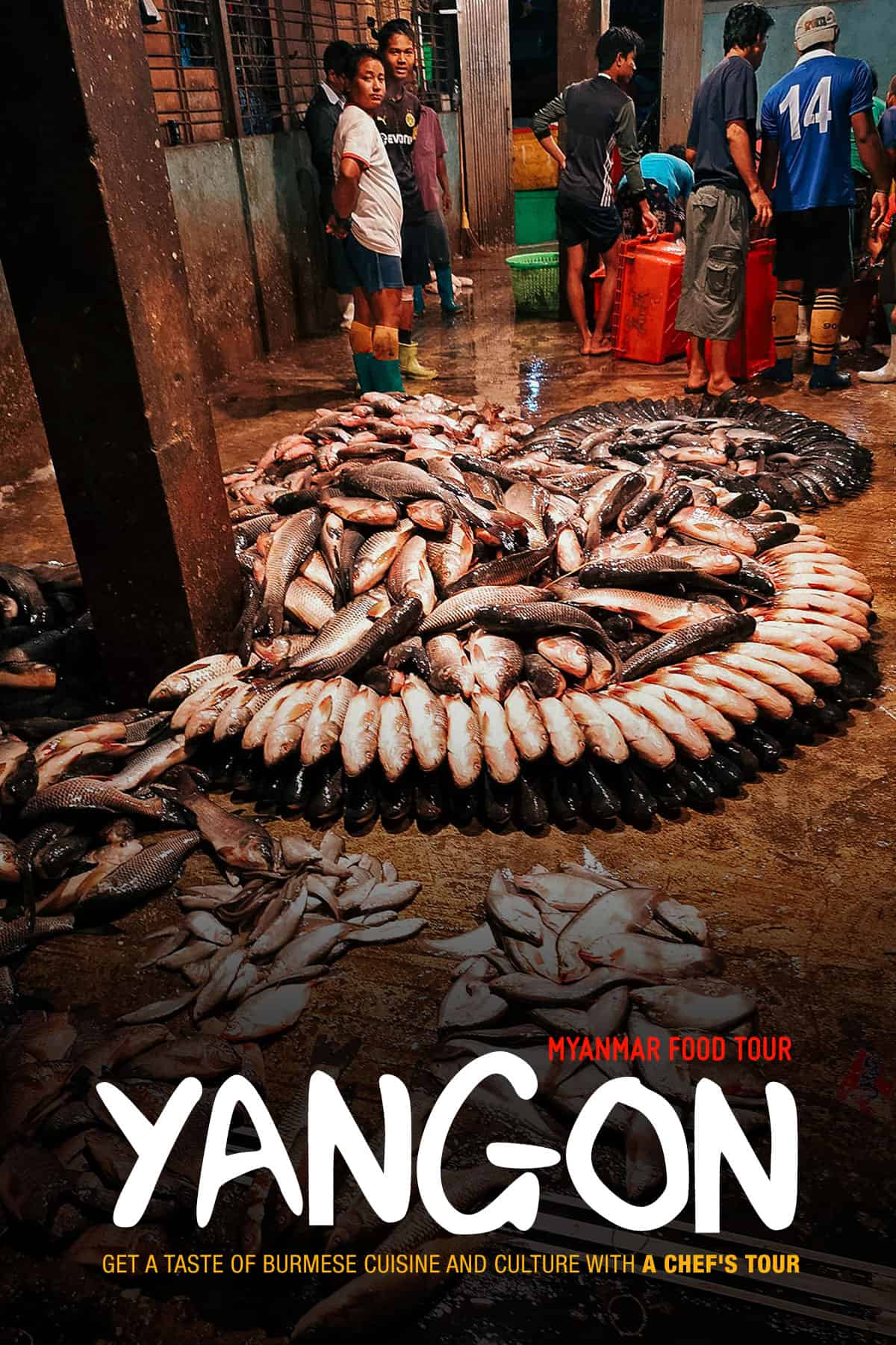 Fish market in Yangon, Myanmar
