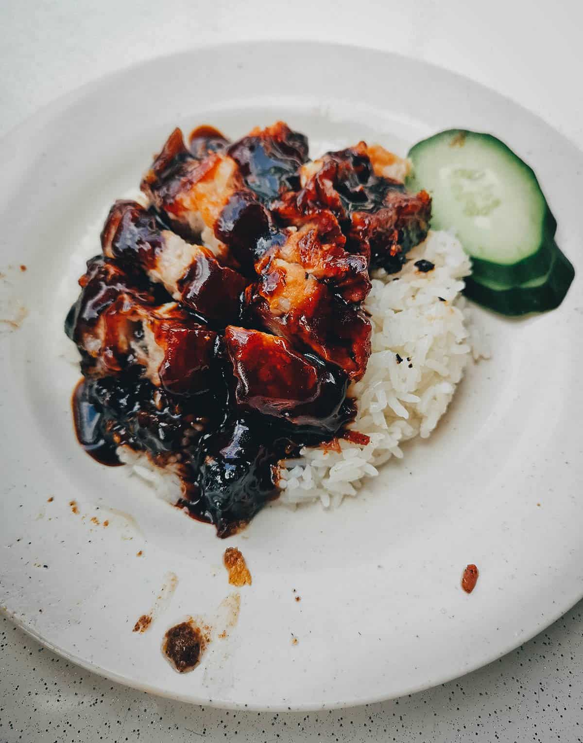 Plate of char siew rice