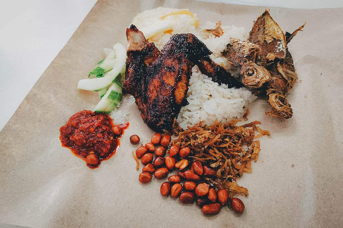 Serving of nasi lemak