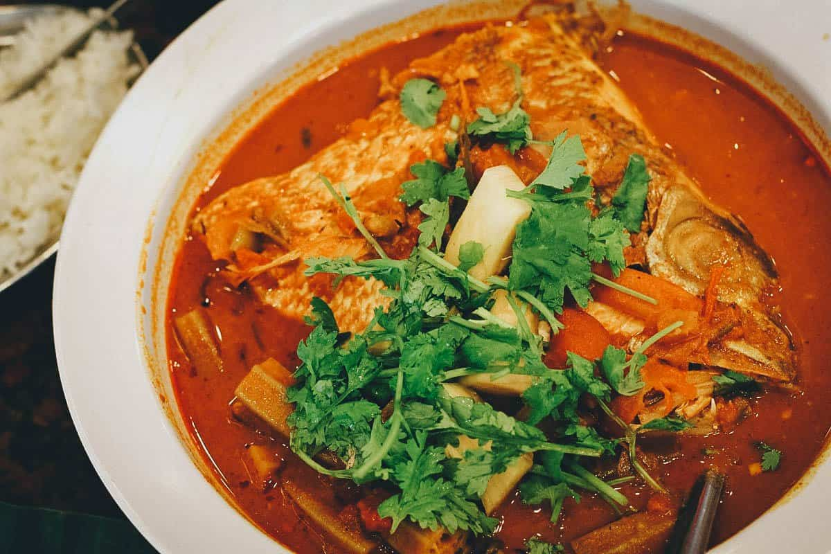 Bowl of fish head curry