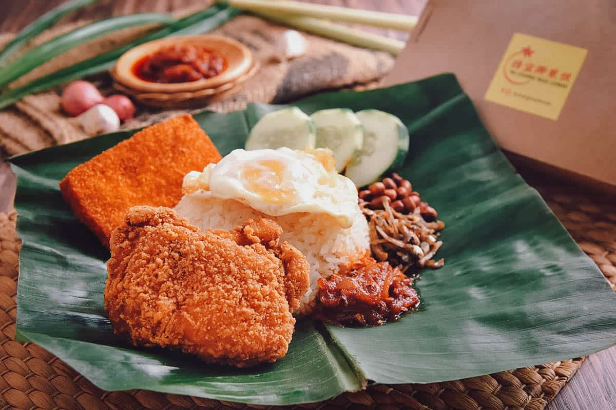 Nasi lemak with spicy thigh cutlet