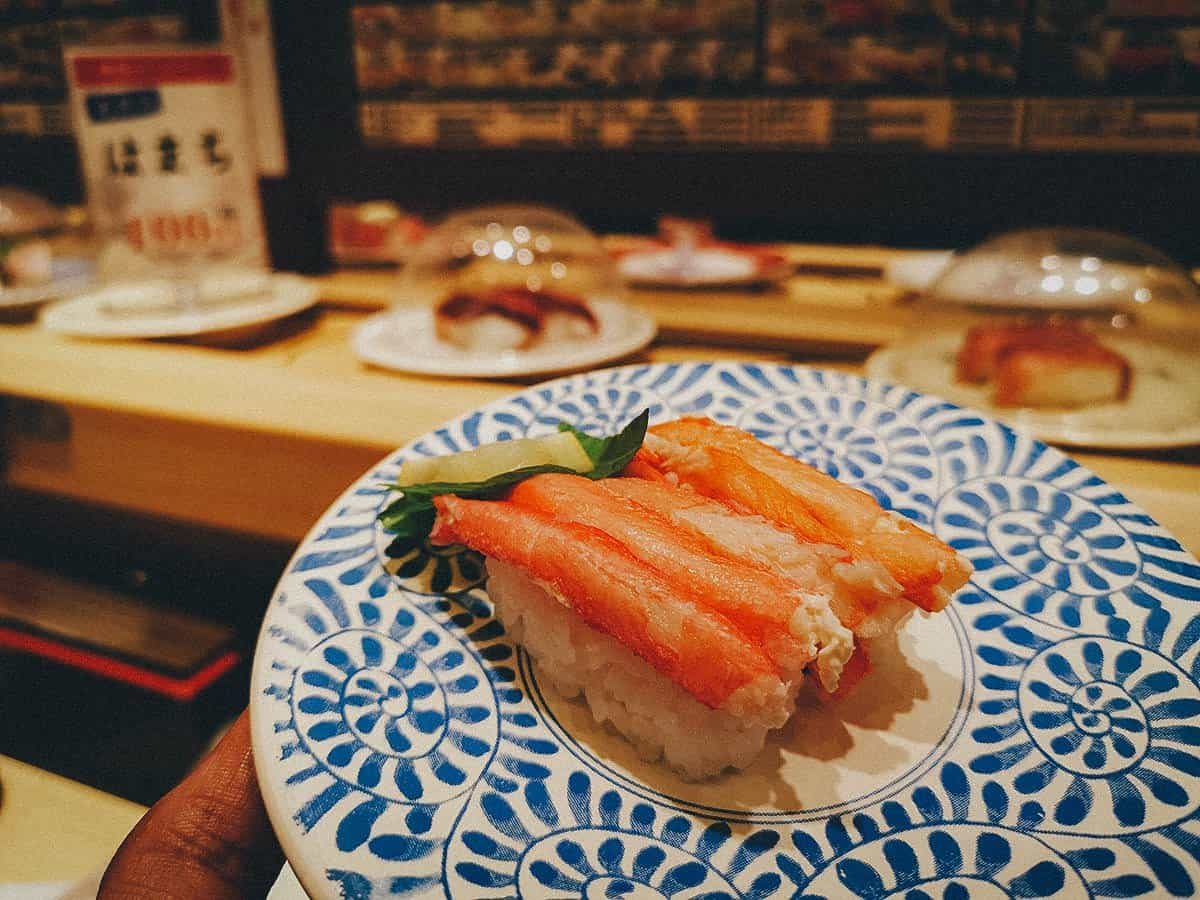 Sushi at a kaitenzushi restaurant