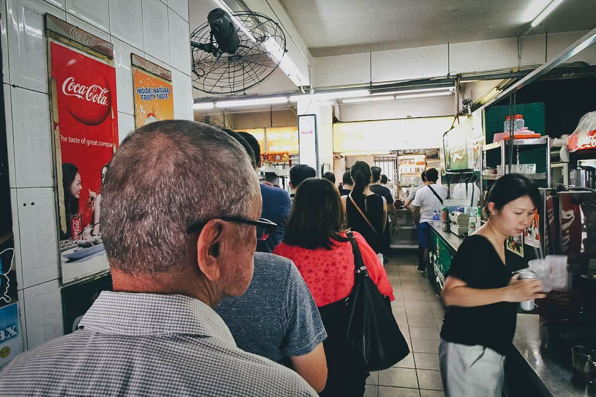Long line of people at Hill Street Tai Hwa Pork Noodle