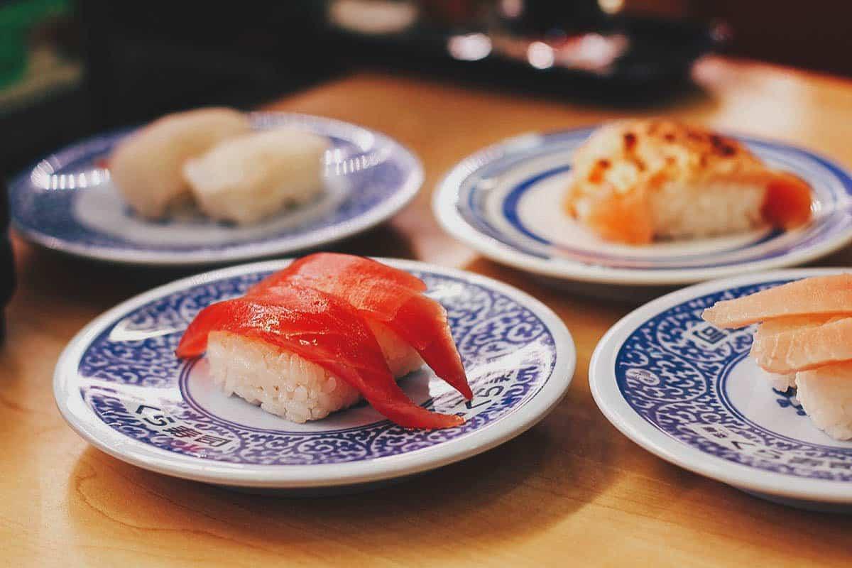 Various plates of sushi at Kura