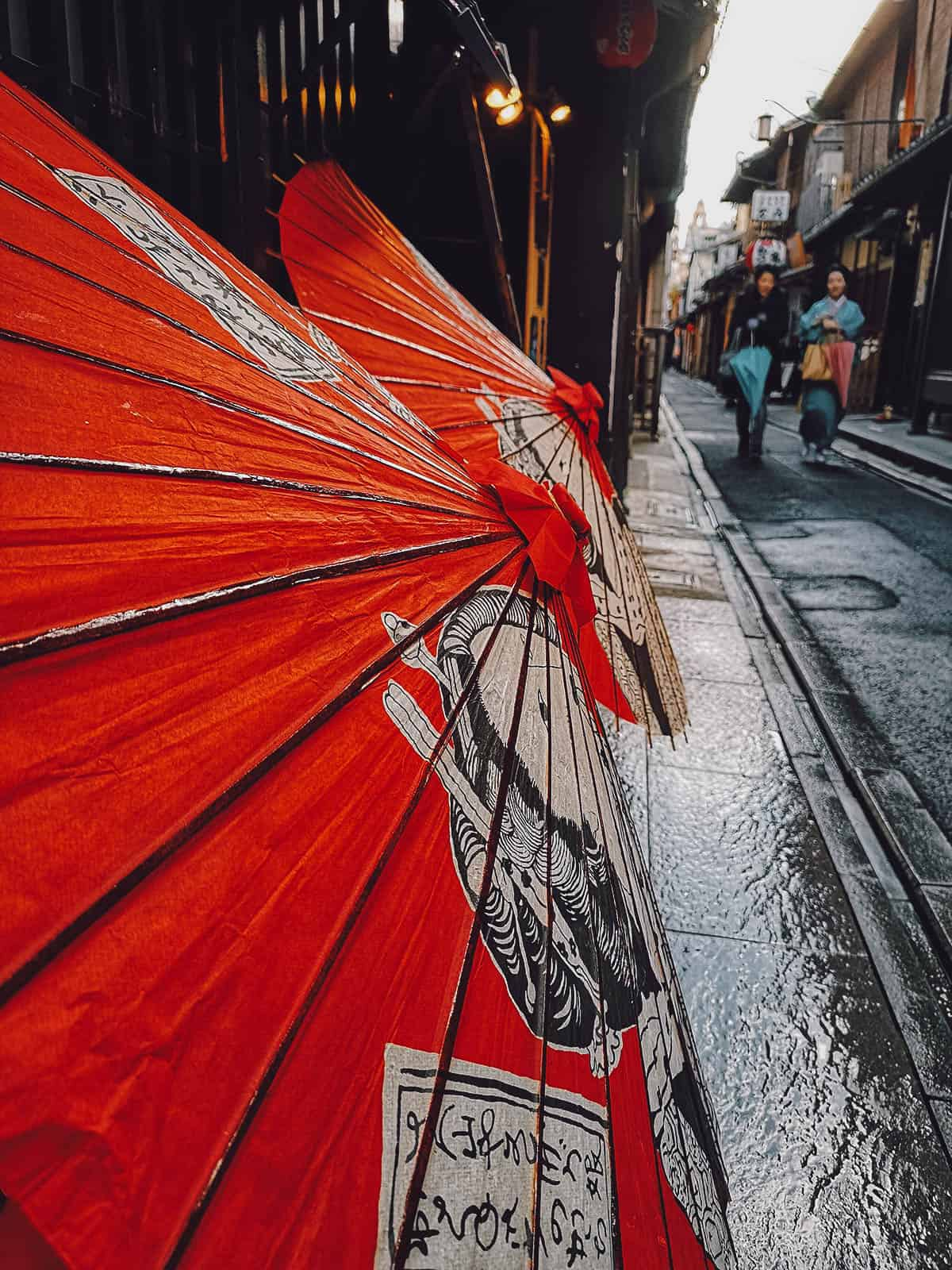 Red paper parasols in Pontocho Alley