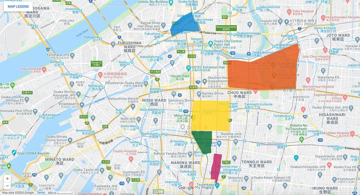 Osaka area map