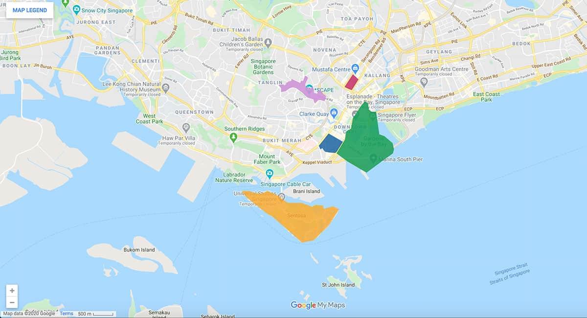 Singapore area map