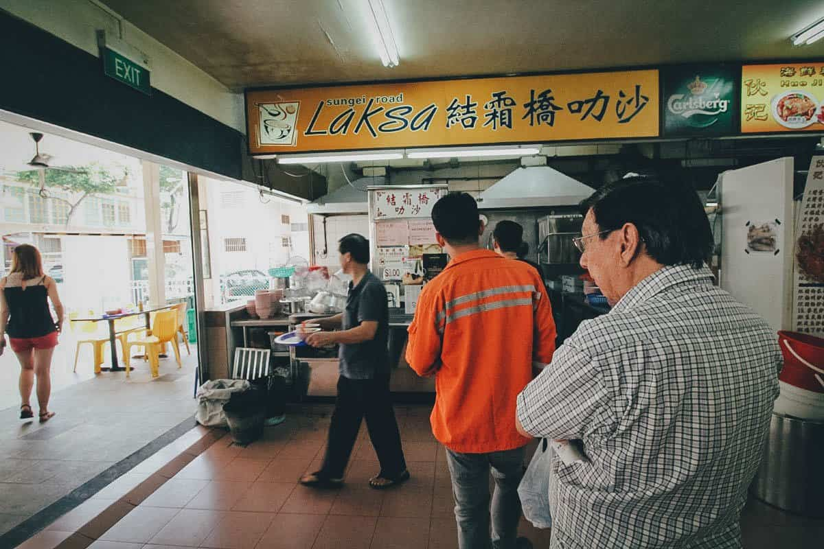 Line of customers at Sungei Road Laksa