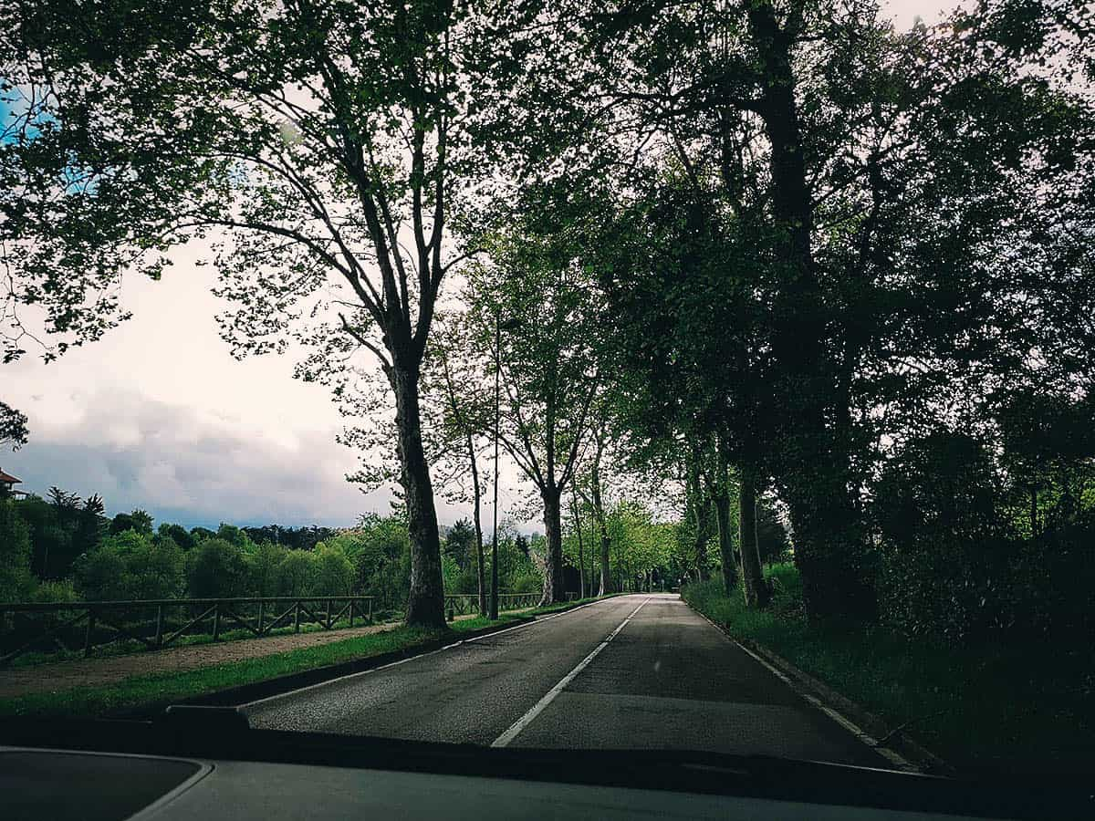 Driving from San Sebastian to Santiago de Compostela in Spain