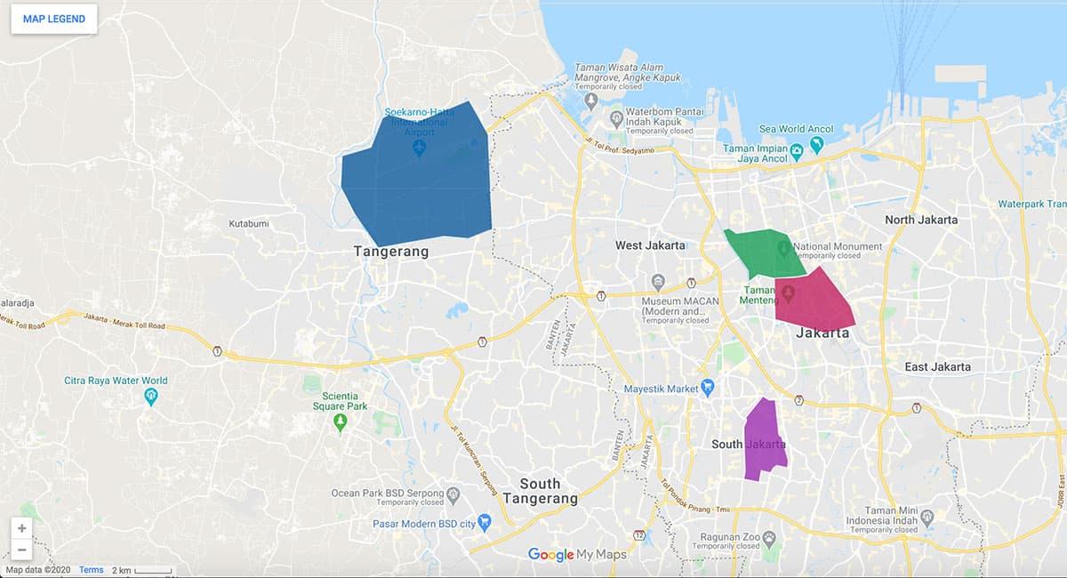 Jakarta area map