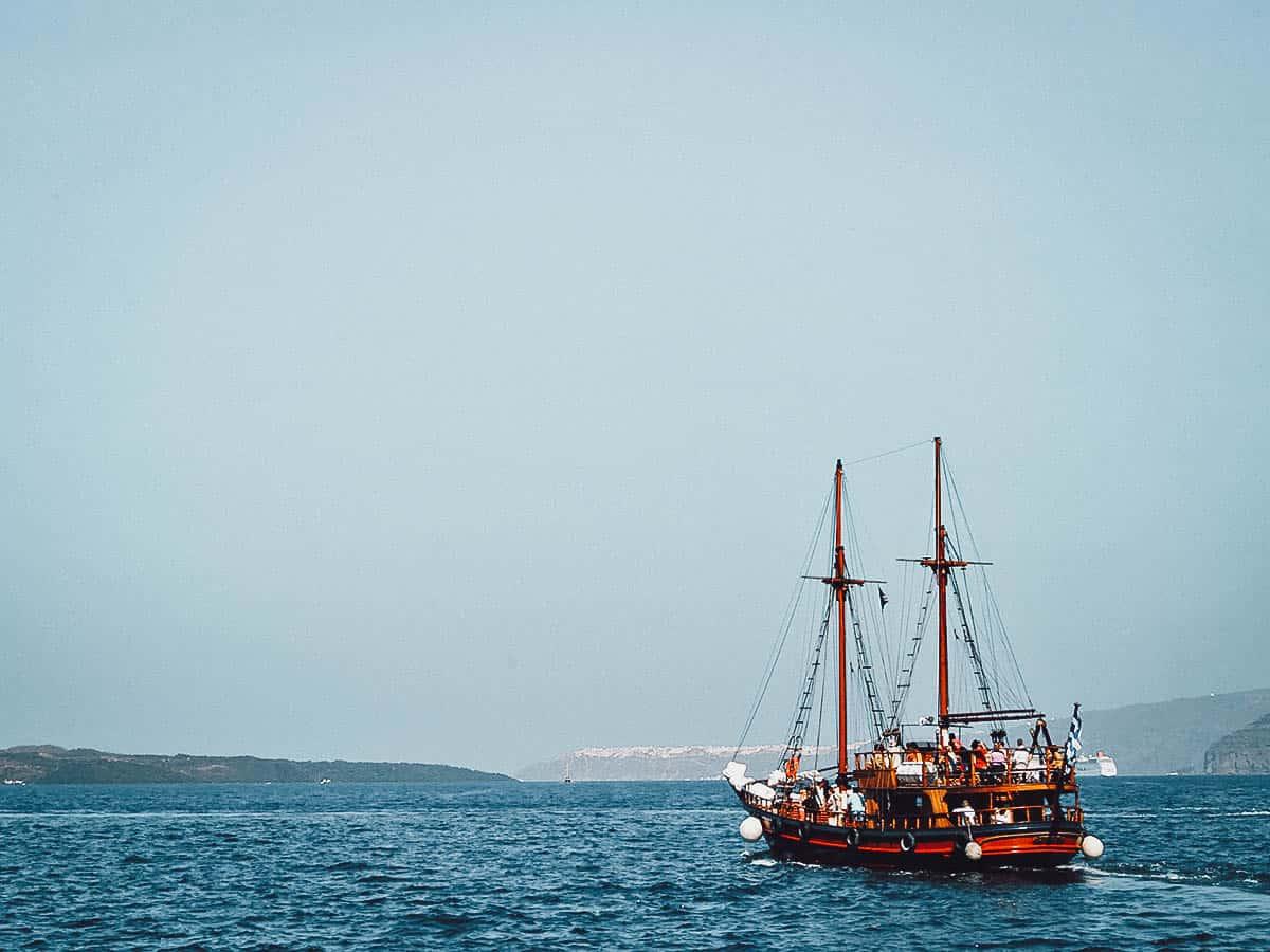 Sailing in Santorini, Greece