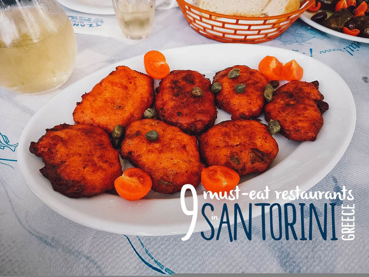 Tomato fritters in Santorini, Greece