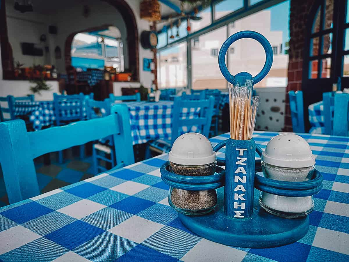 Greek food in Santorini