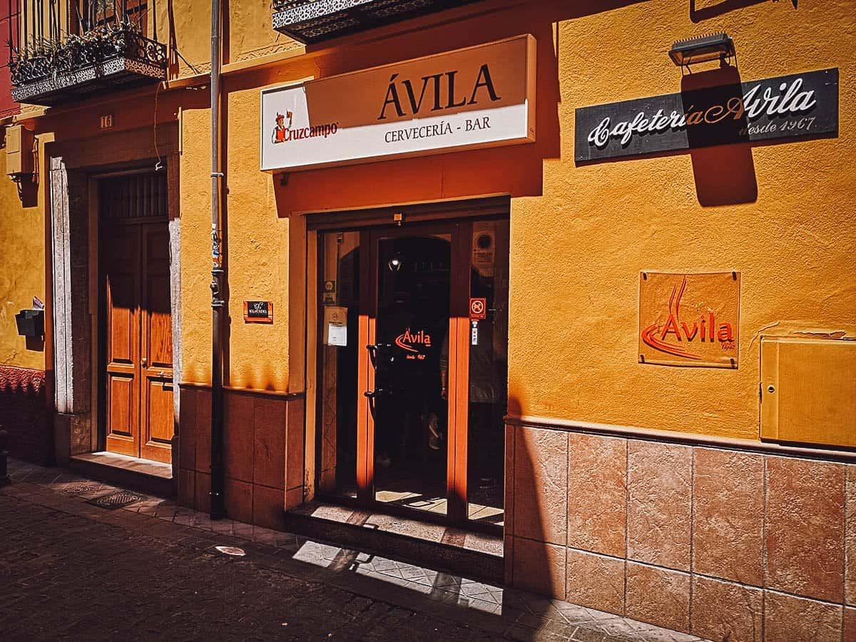 Tapas at Bar Avila in Granada, Spain