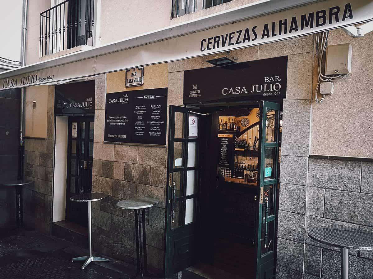 Tapas at Bar Casa Julio in Granada, Spain