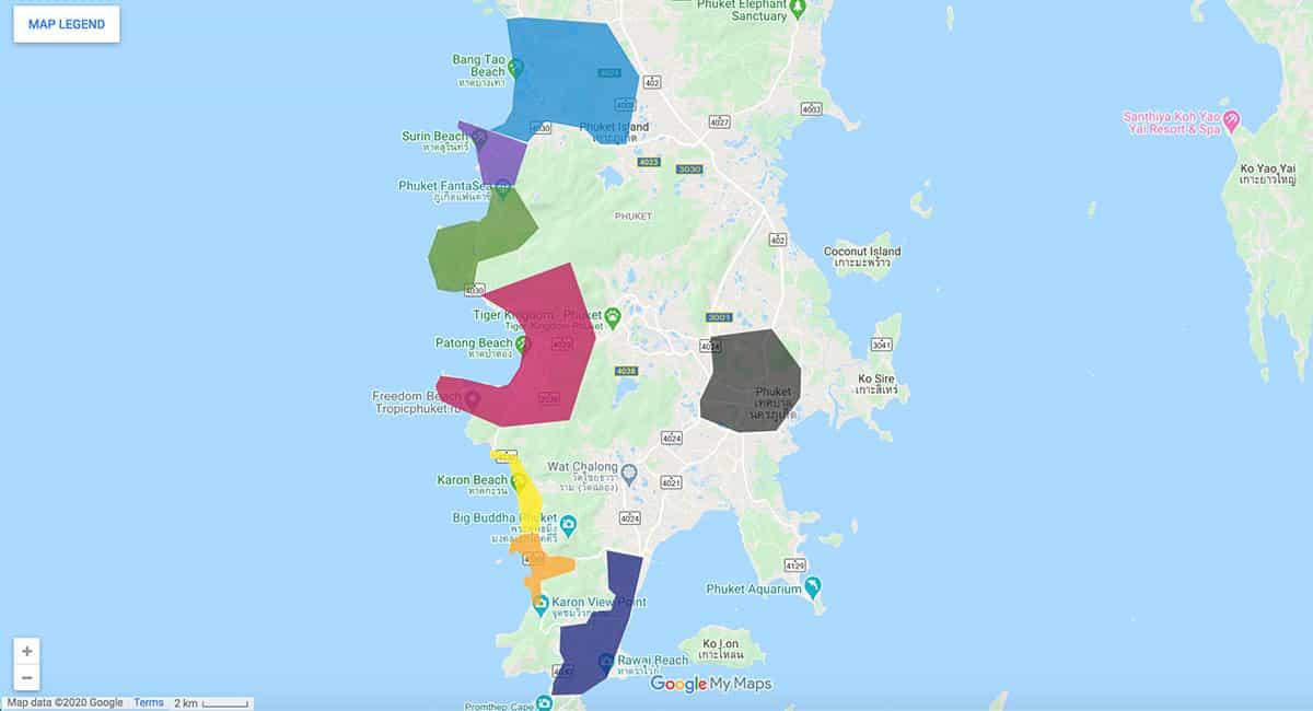 Phuket area map