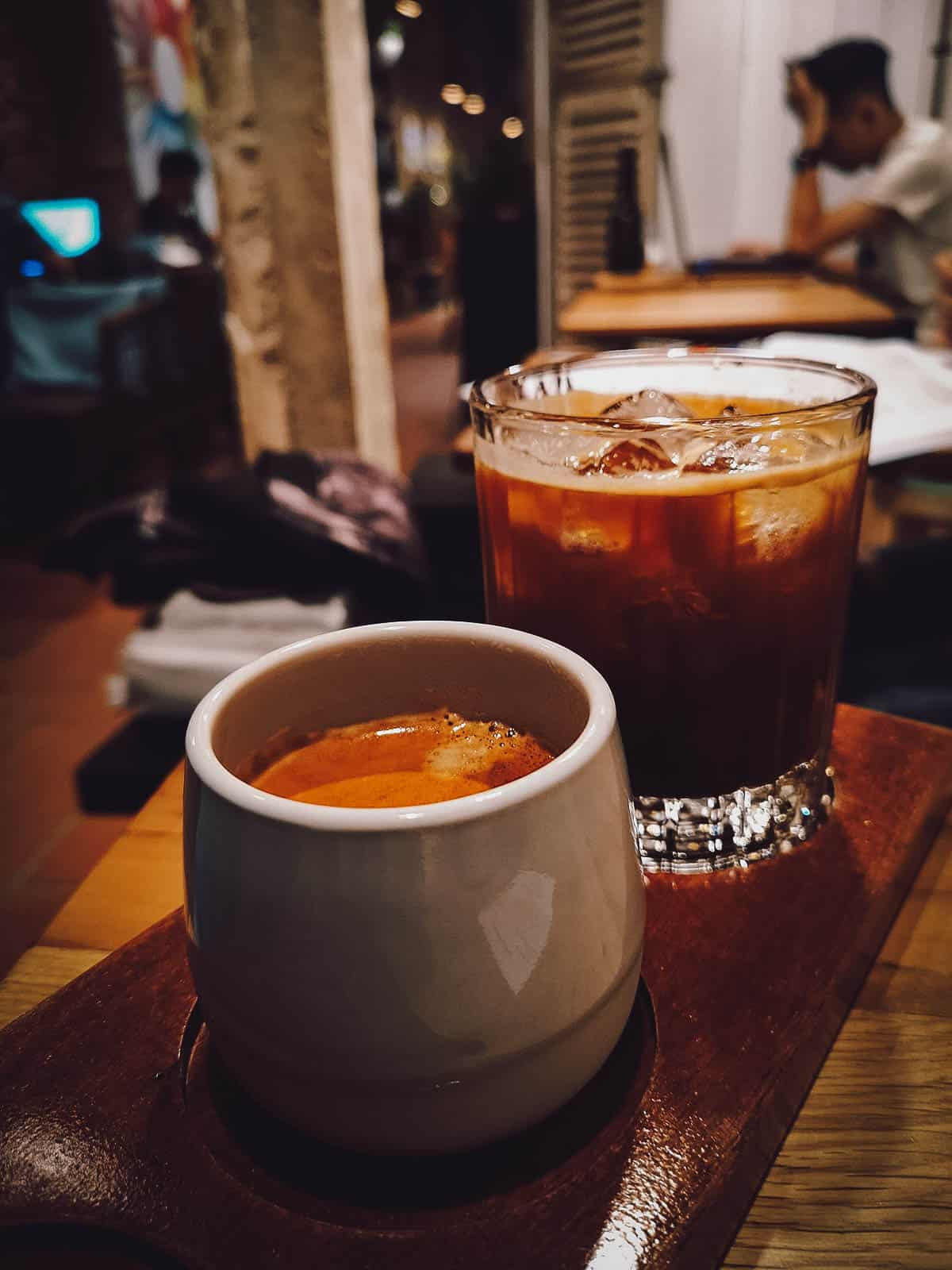 Hot black coffee at Barista Collective