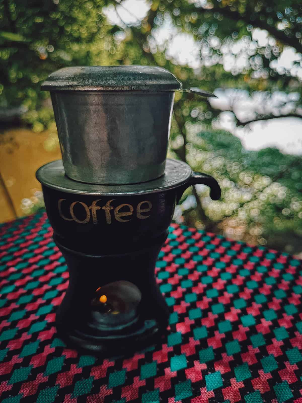 Drip coffee by the river