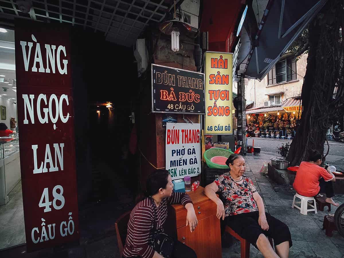 Entrance to Quán Bún Thang Bà Đức