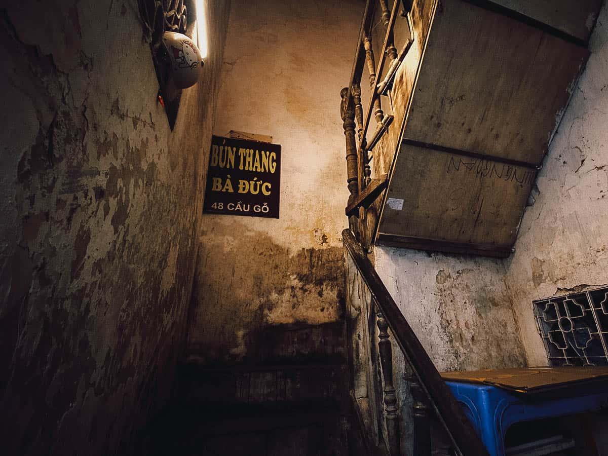 Staircase leading up to Quán Bún Thang Bà Đức