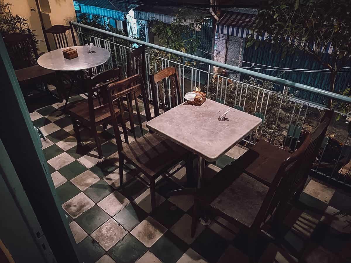 Balcony seating at Ca Phe Do Phu