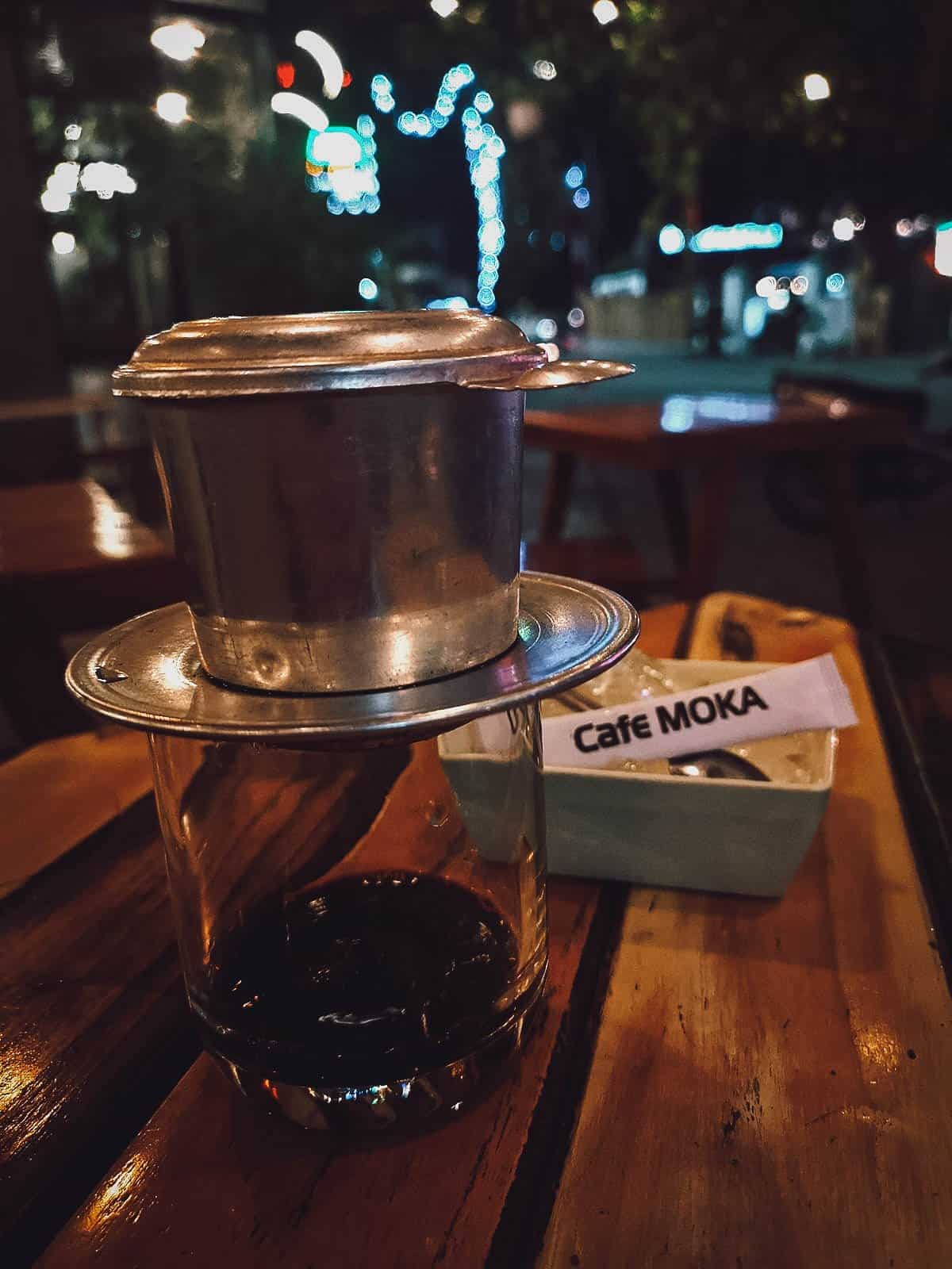 Black coffee at Moka Cafe in Hue, Vietnam