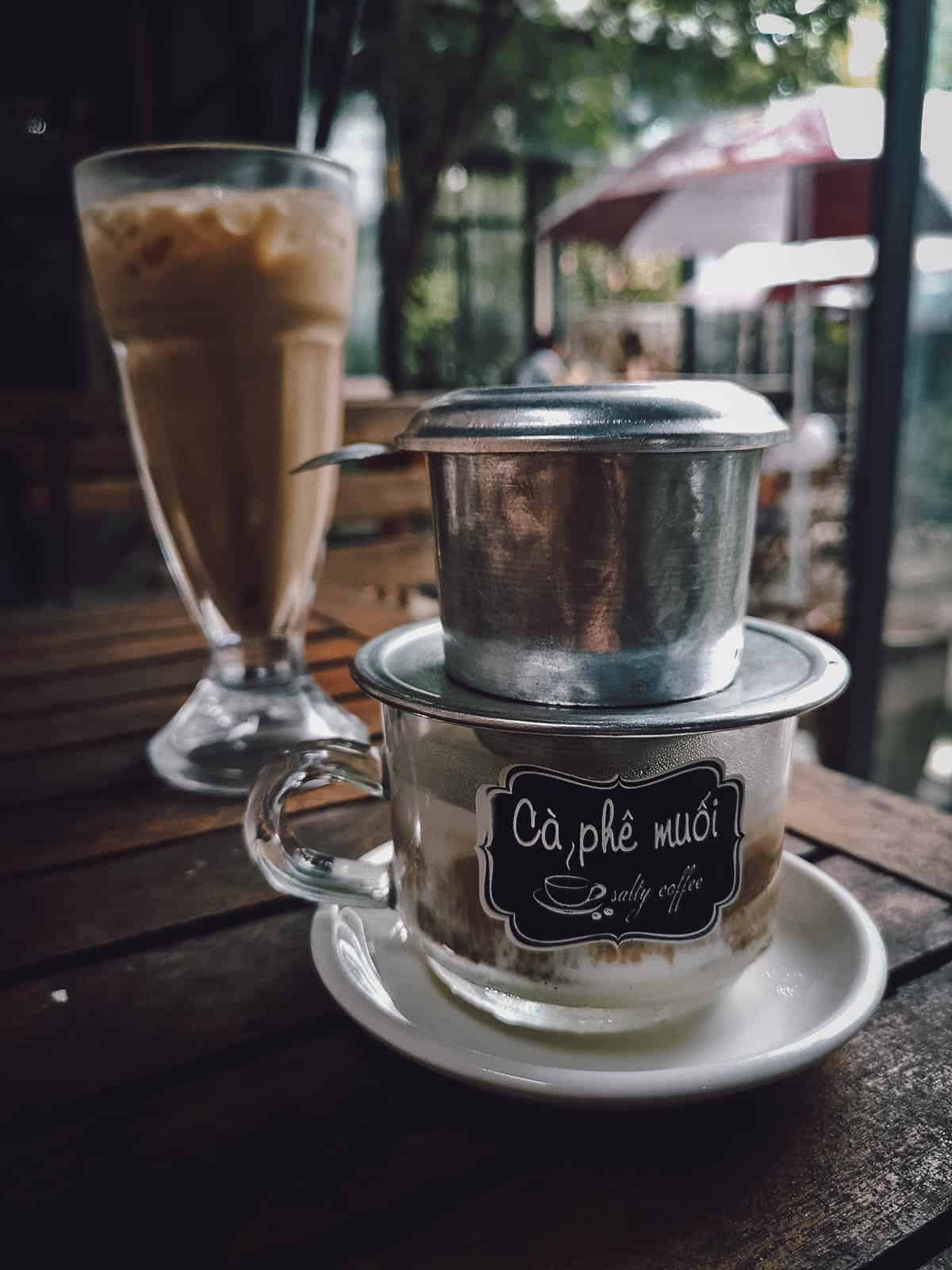 Salt coffee at Ca Phe Muoi in Hue, Vietnam